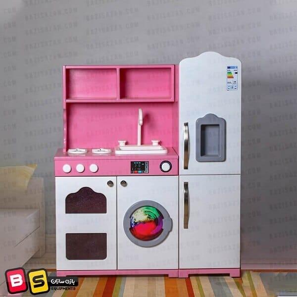 آشپزخانه کودک یک تکه سفید صورتی پنج کاره