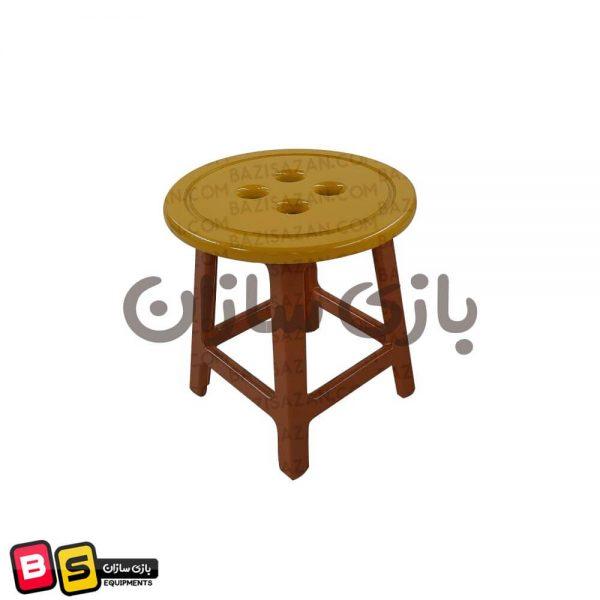 صندلی زرد دکمه ای چوبی