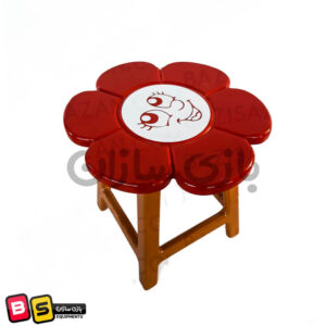 صندلی چوبی گل قرمز