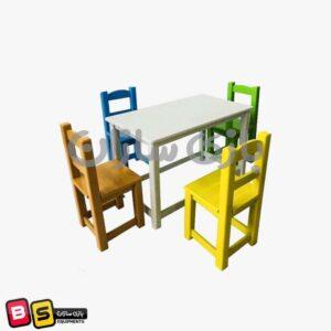 میز و صندلی چوبی مستطیل
