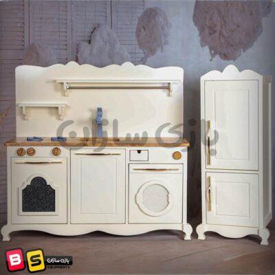آشپزخانه چوبی کودک طرح کلاسیک با لوازم