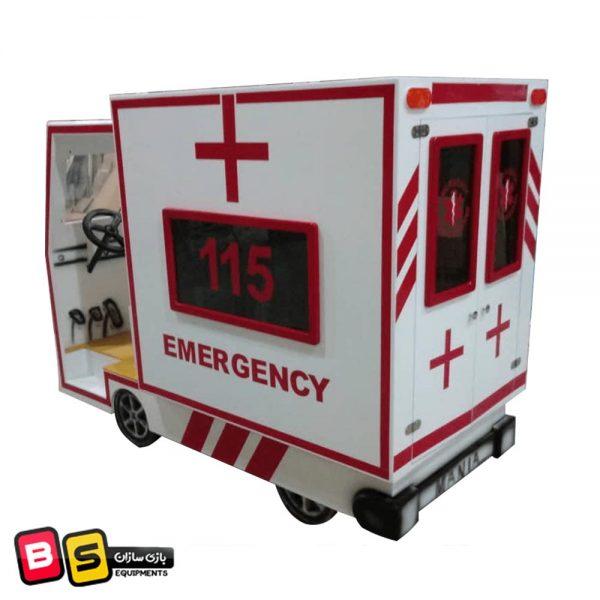 ماشین آمبولانس چوبی شهر مشاغل کودک