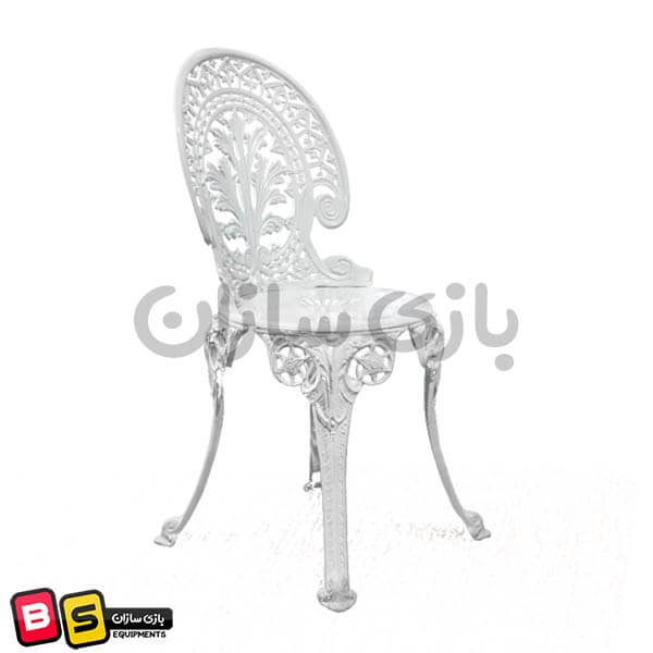 صندلی آلومینیومی فضای باز طرح طاووسی سفید