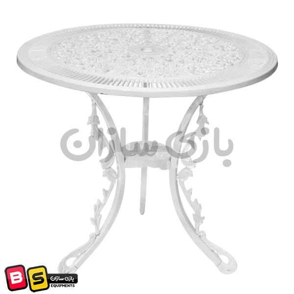 میز آلومینیومی فضای باز طرح طاووسی سفید